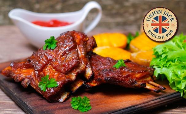 Скидка на Скидка 50% на любые блюда + скидка 30% на напитки в традиционном английском пабе Union Jack на Маросейке