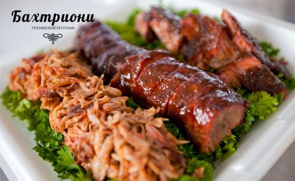 Скидка на Скидка 50% на всё меню и напитки без ограничения суммы чека в ресторане грузинской кухни «Бахтриони»