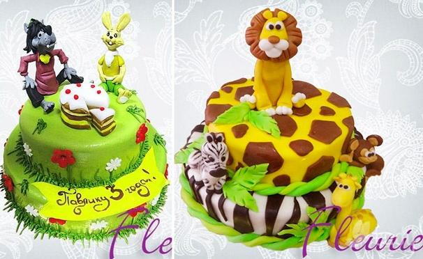 Скидка на Праздничный торт по собственному эскизу или  из каталога со скидкой 50% от кондитерского дома Fleurie